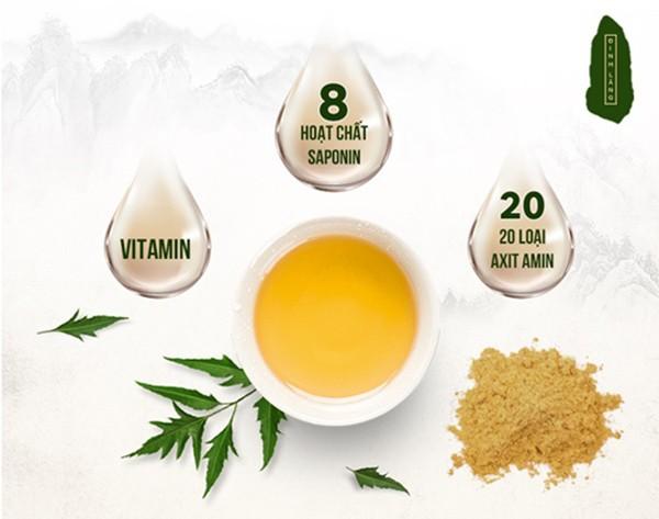Rễ Đinh Lăng lá xẻ chứa nhiều vitamin, 20 acid amin và 8 loại Saponin